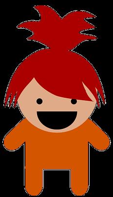 lachendes Mädchen in orangener Kleidung